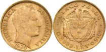 Colombie 5 Pesos Simon Bolivar - 1920 - Or