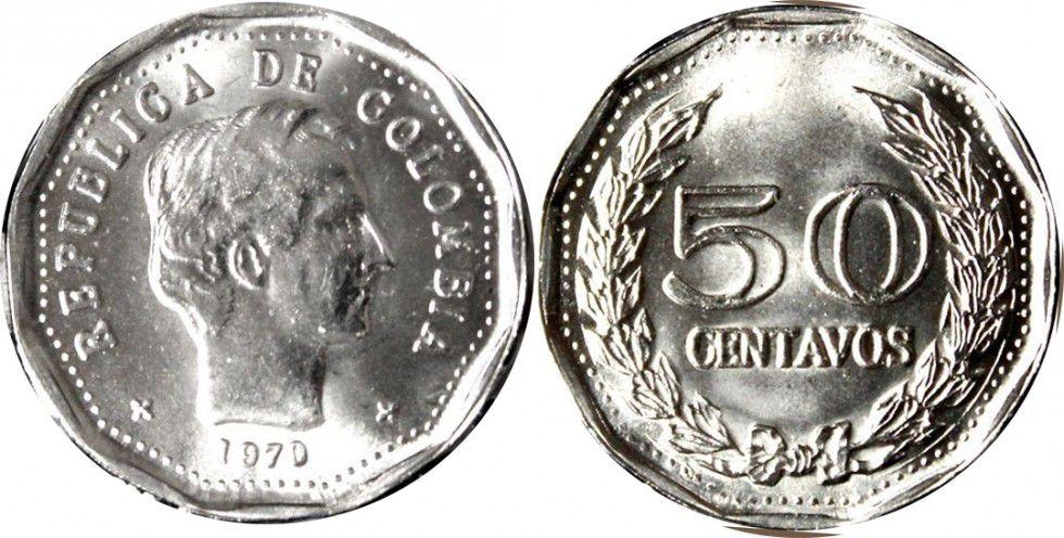 Colombie 50 Centavos Simon Bolivar - 1970-1982