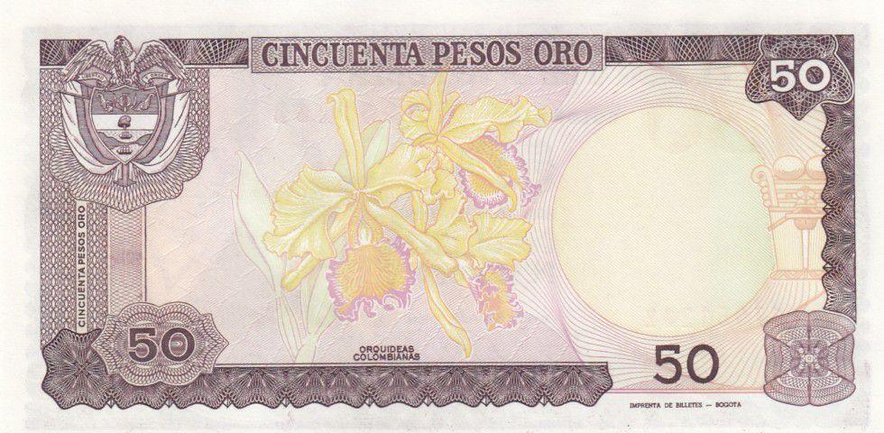 Colombie 50 Pesos oro oro, Camillo Torres - Orchidées - 1986
