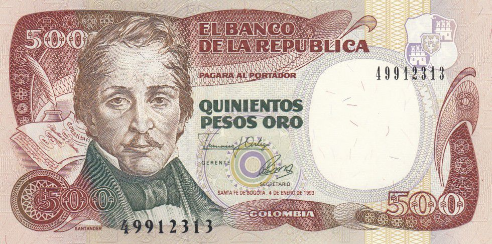 Colombie 500 Peso Oro Oro, Gal Santander - Bogota - 1993