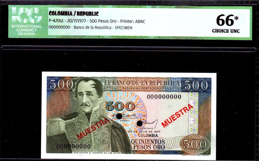 Colombie 500 Pesos oro oro, Gal Santander - Las Salinas - 1977 - ICG UNC66