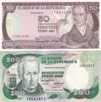 Colombie Série 5 billets  - Personnalités colobiennes - 1977 à 2001