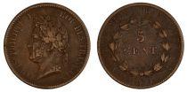 Colonies Françaises 5 Cents Louis-Philippe I - 1839 A Paris