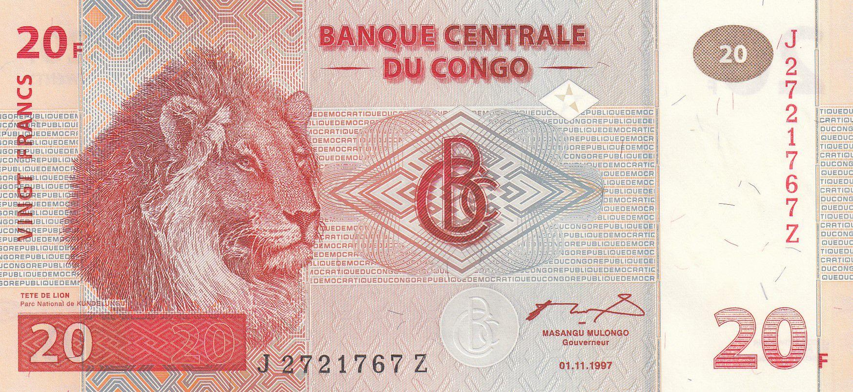 Congo (RDC) 20 Francs - Lions - HdM - P.88A - Neuf -  Série JZ remplacement