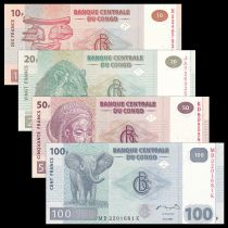 Congo (RDC) Série 4 billets 10 20 50 et 100 Francs - Neuf