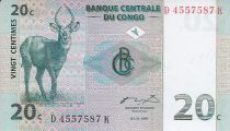Congo (République Démocratique du) 20 Centimes - Antilope - Troupeau - 1997