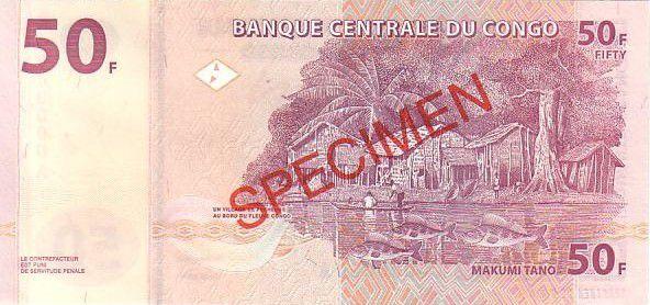 Congo (République Démocratique du) 50 Francs Masque Tshokwé Mwana Pwo - Village