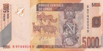 Congo (République Démocratique du) 5000 Francs Statue - Zébres - 2013