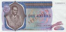 Congo Democratic Republic 10 Zaires Prés. Mobutu, leopard - 1971