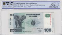 Congo Democratic Republic 100 Francs Elephant - Dam 2000 - PCGS 67 OPQ