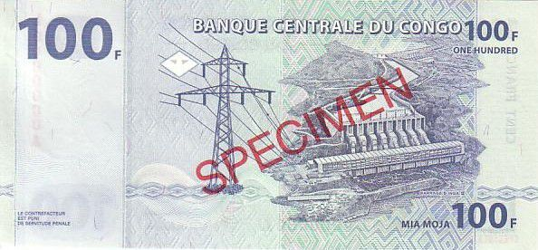 Congo Democratic Republic 100 Francs Elephant - Dam Specimen 2000 G and D Munich