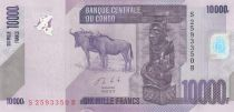 Congo Democratic Republic 10000 Francs Carved statuette - Gnu -2013