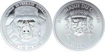 Congo Republic 5000 CFA Gorilla - Oz Silver 2016