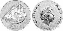 Cook Islands 1 Dollar Boat - Elizabeth II - 1 Oz Silver 2021