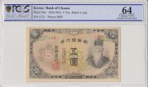 Corea 5 Yen - ND (1945) - Man with beard - PCGS 64