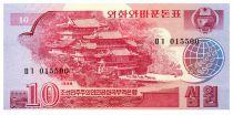 Corea del Norte 10 Won Temple - 1988