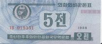 Corée du Nord 5 Chon Bleu - 1988