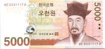 Corée du Sud 5000 Won Yi - Temple - 2006