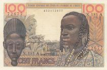 Costa d\'Avorio 100 Francs mask 1961 litho - Ivory Coast - Serial X.181