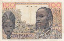 Costa de Marfil 100 Francs mask 1961 - Ivory Coast - Serial C.138