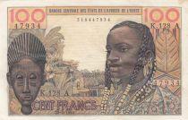 Costa de Marfil 100 Francs mask 1961 - Ivory Coast - Serial K.128