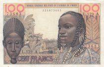 Costa de Marfil 100 Francs mask 1961 - Ivory Coast - Serial L.129