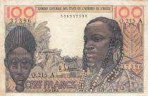 Costa de Marfil 100 Francs mask 1965 - Ivory Coast - Serial Q.215