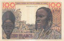 Costa de Marfil 100 Francs mask 1965 - Ivory Coast - Serial R.235