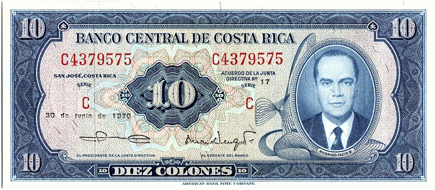 Costa Rica 10 Colones, Rodrigo Facio Benes - 1970