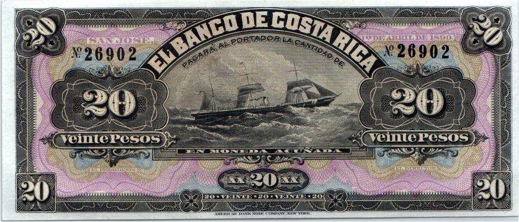 Costa Rica 20 Pesos Bateau - Portrait  - 1899