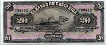 Costa Rica 20 Pesos Boat - Portrait  - 1899