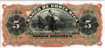 Costa Rica 5 Colones Femme - Banque - 1908