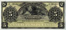Costa Rica 5 Pesos Lion  - 1899