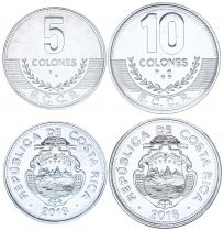 Costa Rica Set of 2 coins - 5 and 10 Colones 2016 - UNC