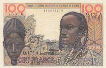 Côte d´Ivoire 100 Francs masque 1961 litho - Côte d\'ivoire - Série Q.175