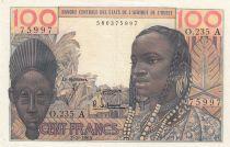 Côte d\'Ivoire 100 Francs masque 1965 - Côte d\'ivoire - Série O.235