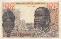 Côte d´Ivoire 100 Francs masque 1965 - Côte d\'ivoire - Série V.215