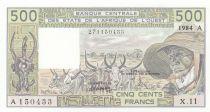 Côte d´Ivoire 500 Francs Côte d\'ivoire - Vieil homme et zébus - 1984 - Série X.11