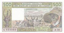 Côte d´Ivoire 500 Francs Sénégal - Vieil homme et zébus - 1988 - Série Z.18