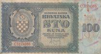 Croatia 100 Kuna 1941 - Blue-grey, Coat of Arms - Serial C3174966