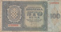 Croatia 100 Kuna 1941 - Blue-grey, Coat of Arms - Serial L3209808