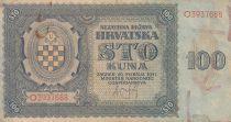 Croatia 100 Kuna 1941 - Blue-grey, Coat of Arms - Serial O3937688