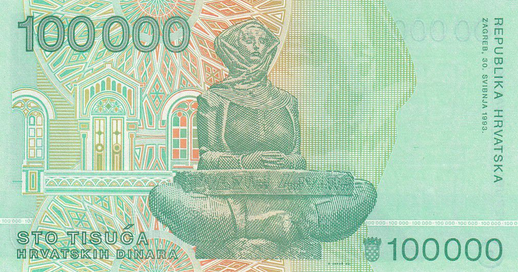Croatia 100000 Dinara R. Boskovic - Cathedral of Zagreb - 1993 - UNC - P.27