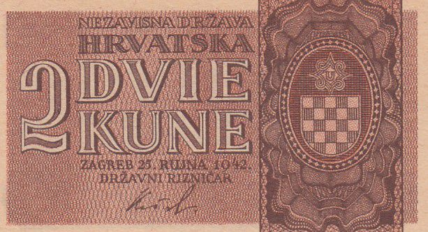 Croatia 2 Kune  Arms - 1942 - UNC - P.8b