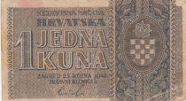 Croatie 1 Kuna 1942 - Gris-marron, Armoiries