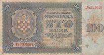 Croatie 100 Kuna 1941 - Bleu-gris, Armoiries - Série D4353069
