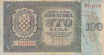 Croatie 100 Kuna 1941 - Bleu-gris, Armoiries - Série K3424436