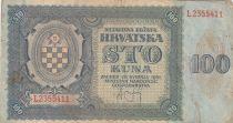 Croatie 100 Kuna 1941 - Bleu-gris, Armoiries - Série L2355411