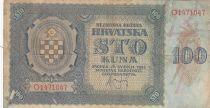 Croatie 100 Kuna 1941 - Bleu-gris, Armoiries - Série O1471047