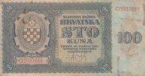Croatie 100 Kuna 1941 - Bleu-gris, Armoiries - Série O3937688